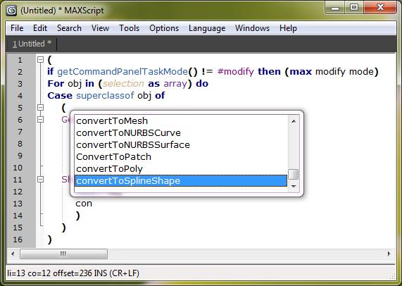 Autocomplete Maxscript