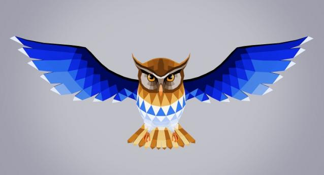 low poly owl poly painted