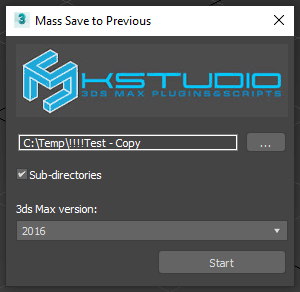 Mass Save 3ds Max Files to Previous Version